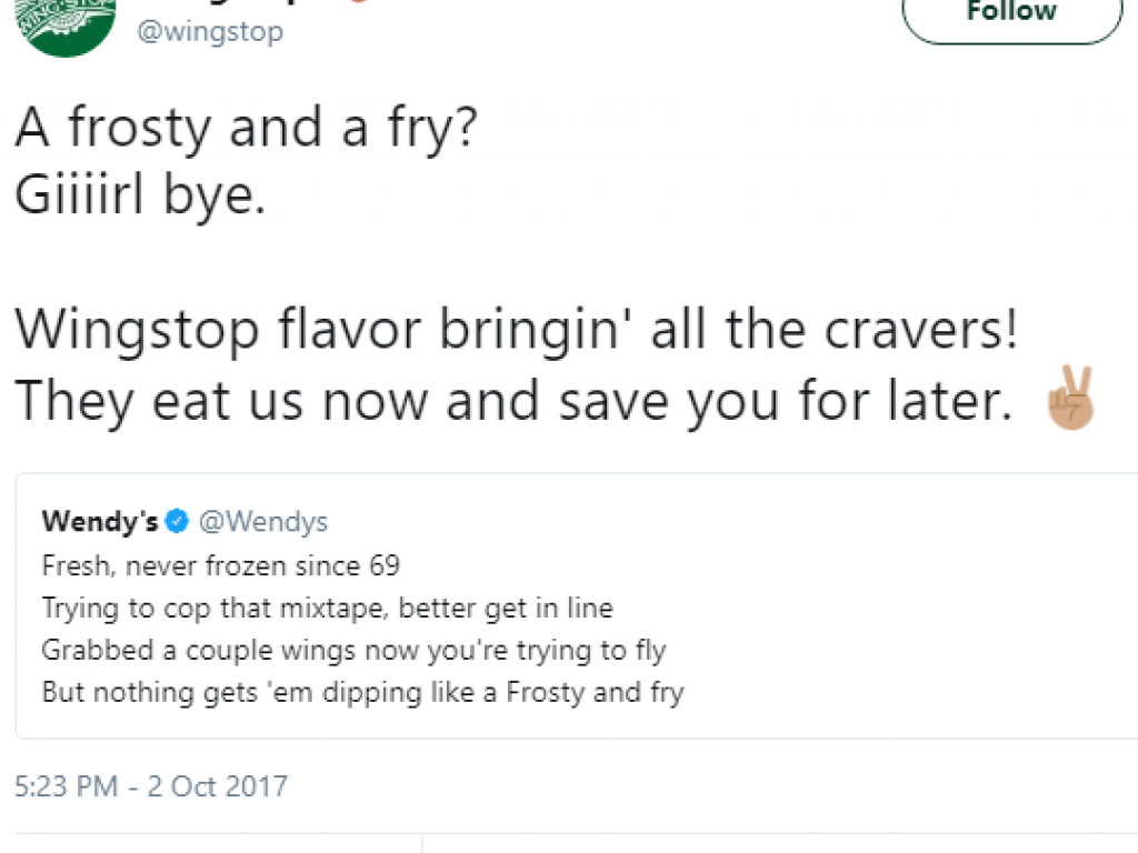 Wendy S Vs Wingstop Twitter Beef Turns Into Rap Battle