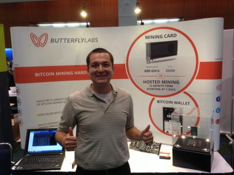 David Smith at the Butterfly Labs booth