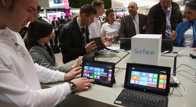 Surface Revenue Falls Below Microsoft's $900 Million Write-Down MSFT