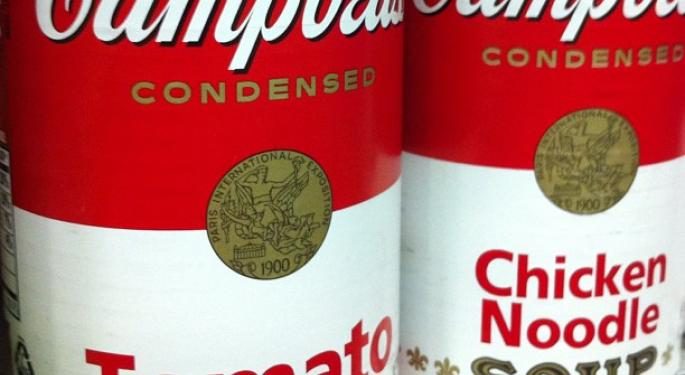 Mid-Day Market Update: Campbell Soup Tumbles On Downbeat Earnings; Brocade Shares Spike Higher