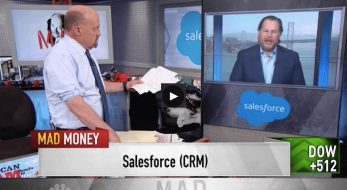 Marc Benioff Tells Cramer Salesforce Is 'No. 1'