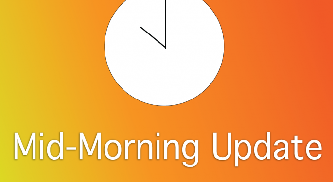 Mid-Morning Market Update: Markets Lower; HP Writes Off $8.8B on Autonomy