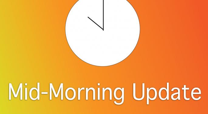 Mid-Morning Market Update: Markets Down, Pfizer Cuts 2013 View