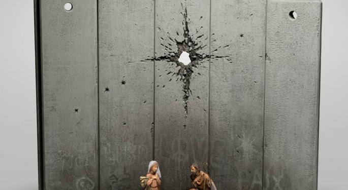 Anonymous UK Artist Banksy Exhibits Christmas Set Telling The Story Of Palestine
