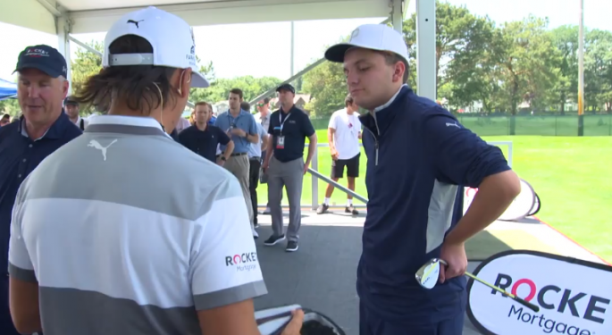 Rickie Fowler Helps Make A Wish Come True At Detroit's Rocket Mortgage Classic
