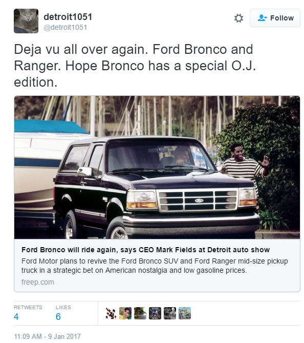Free Press Executive Editor Robert Huschka tweeted a reference to the notorious televised low-speed pursuit of O.J. Simpson in Los Angeles in 1994 ...  sc 1 st  Benzinga & Ford Bronco Returns To The Wild In 2020; Inevitable O.J. Jokes ... markmcfarlin.com